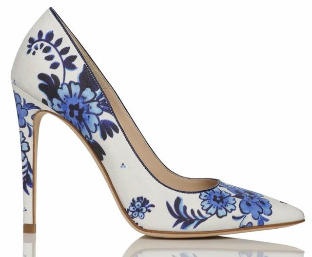 L.K. Bennett Flora Point Toe Court Shoe China Print Delft Blue 1