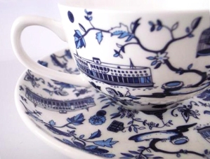 Hong Kong Blue Toile for Faux